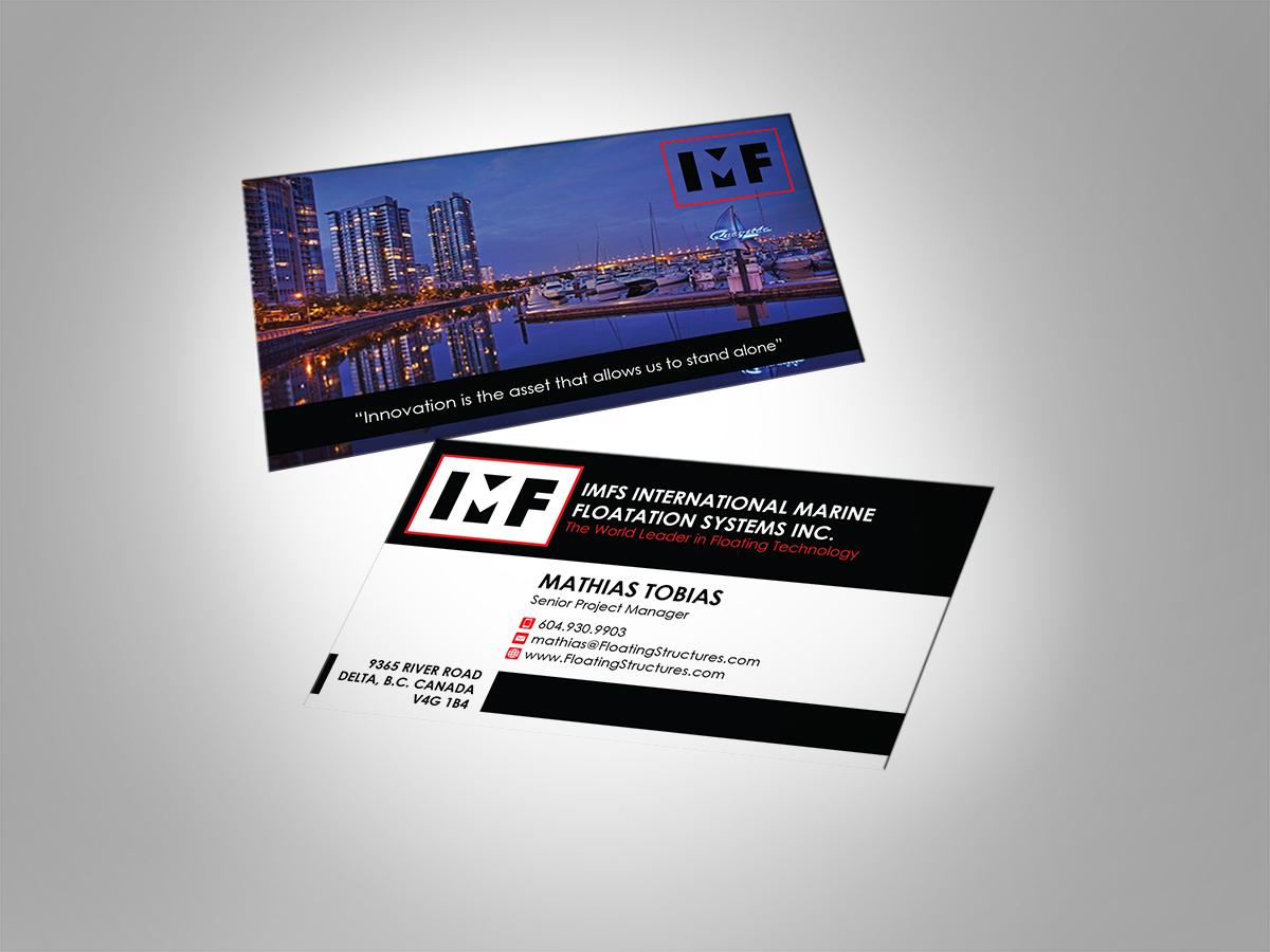 Upmarket playful business business card design for international business card design by mt for international marine floatation systems inc design colourmoves