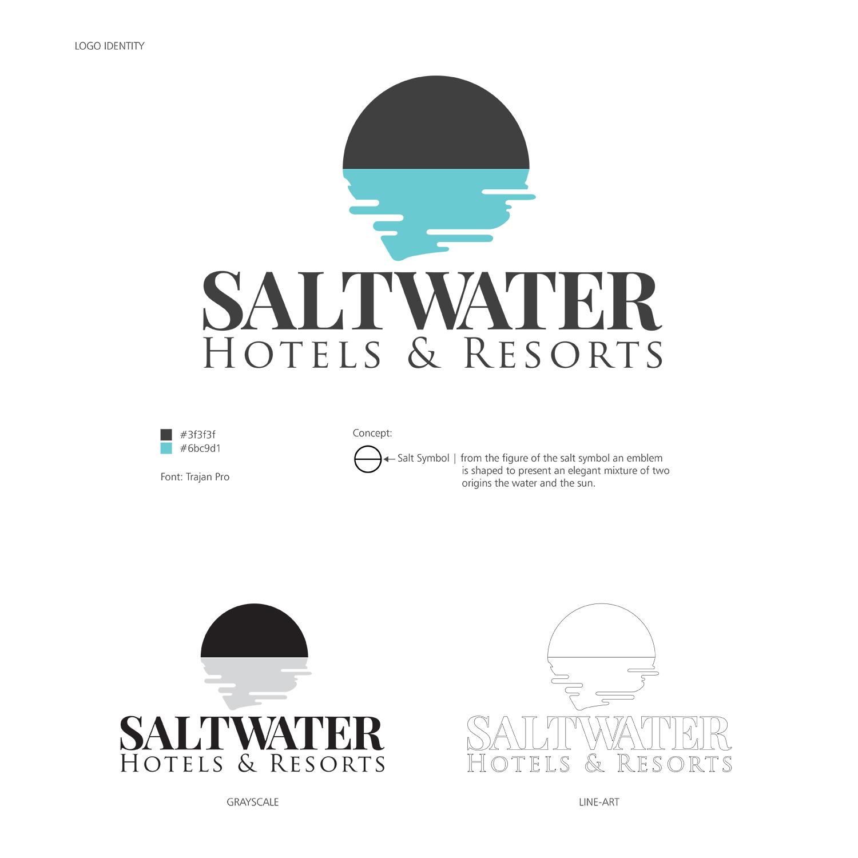 Elegant Modern Accommodation Logo Design For Saltwater Hotels