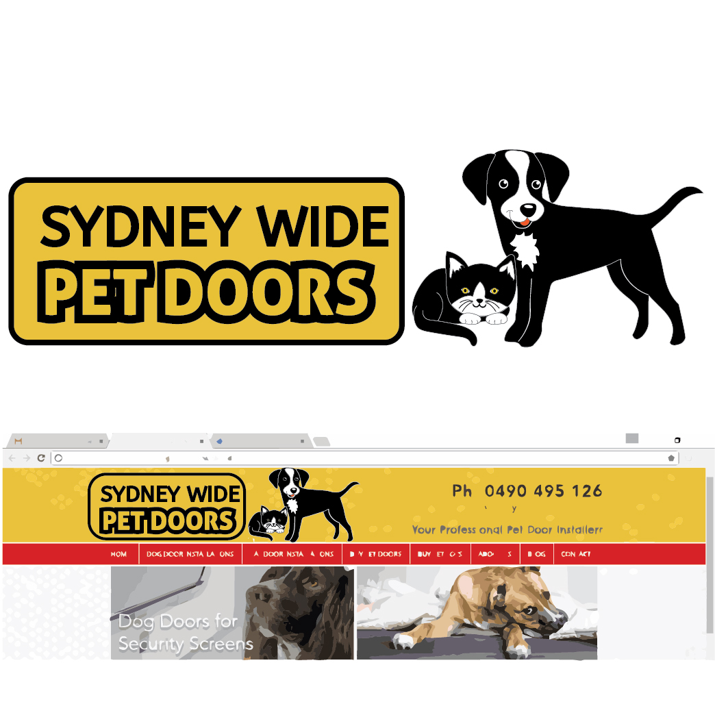 Bold Playful Pet Shop Logo Design For Sydney Wide Pet Doors By