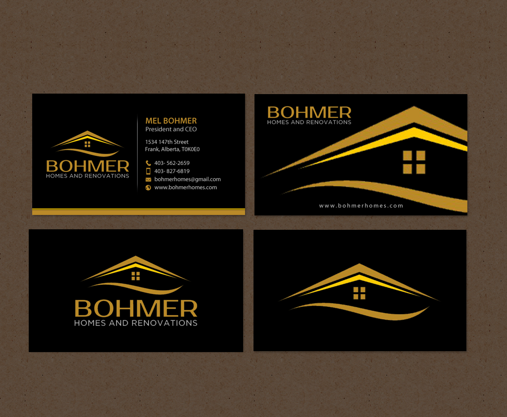 bold serious home builder business card design for bohmer homes and renovations in canada design 14371757 - Business Card Builder