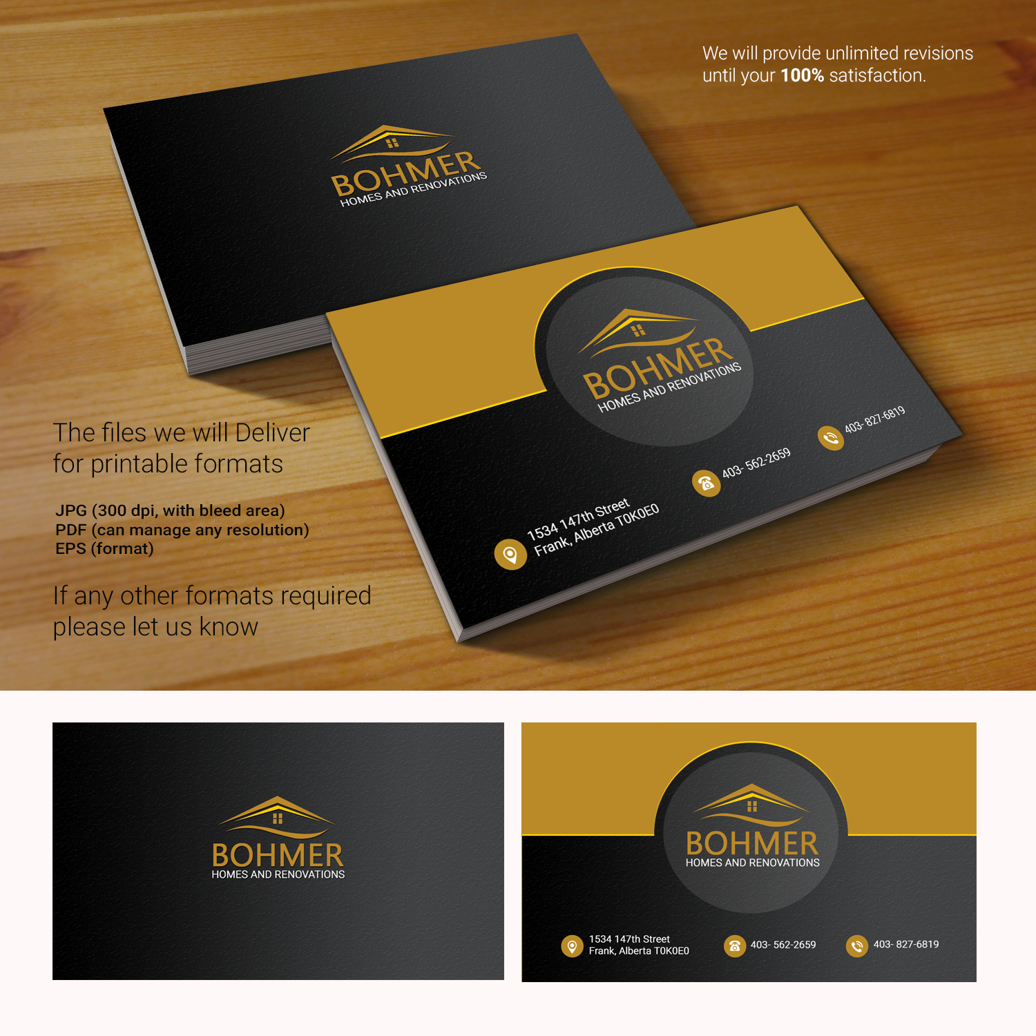 Bold, Serious Business Card Design for Bohmer Homes and Renovations ...