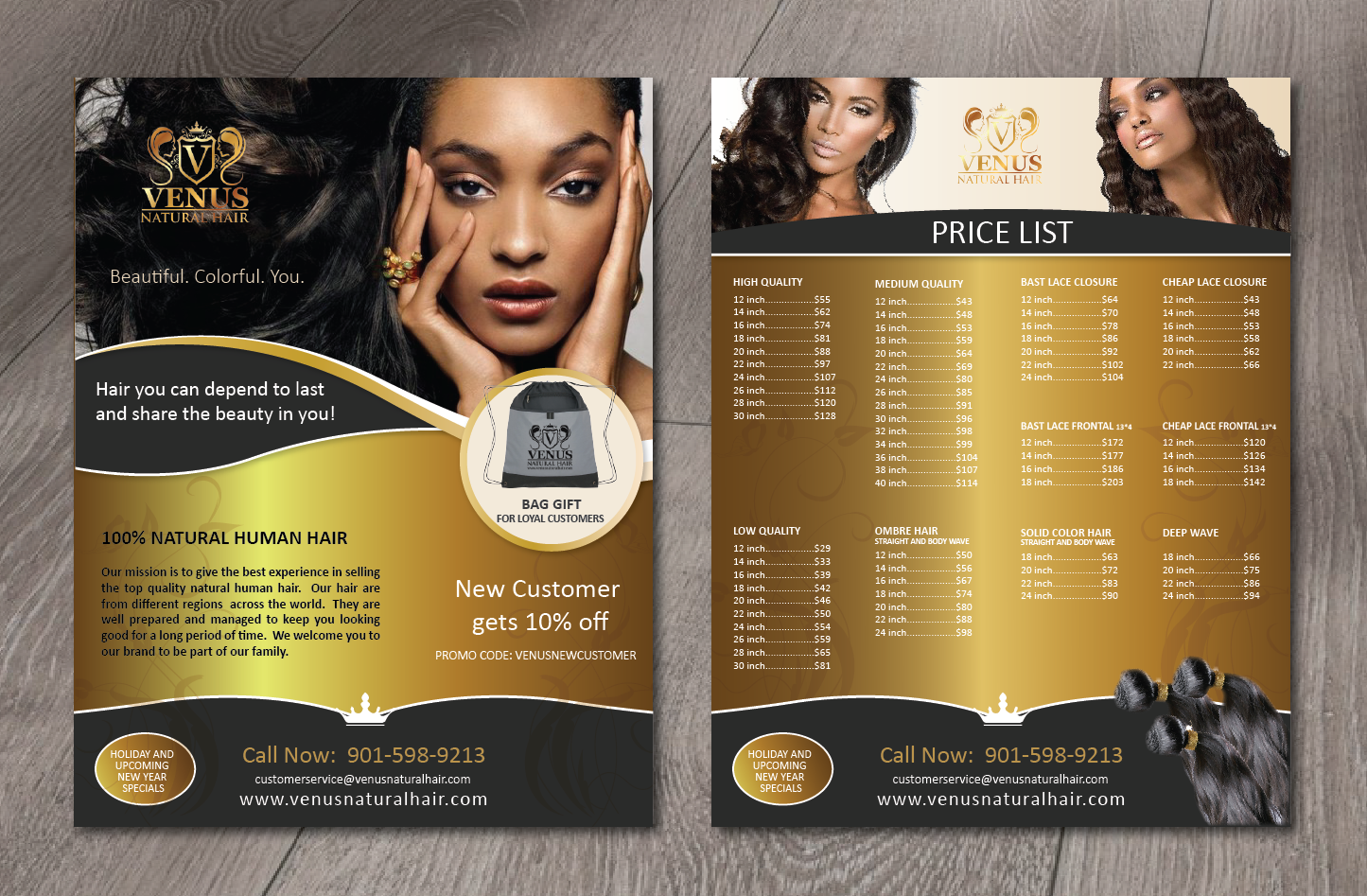 feminine modern business flyer design for venus natural hair by