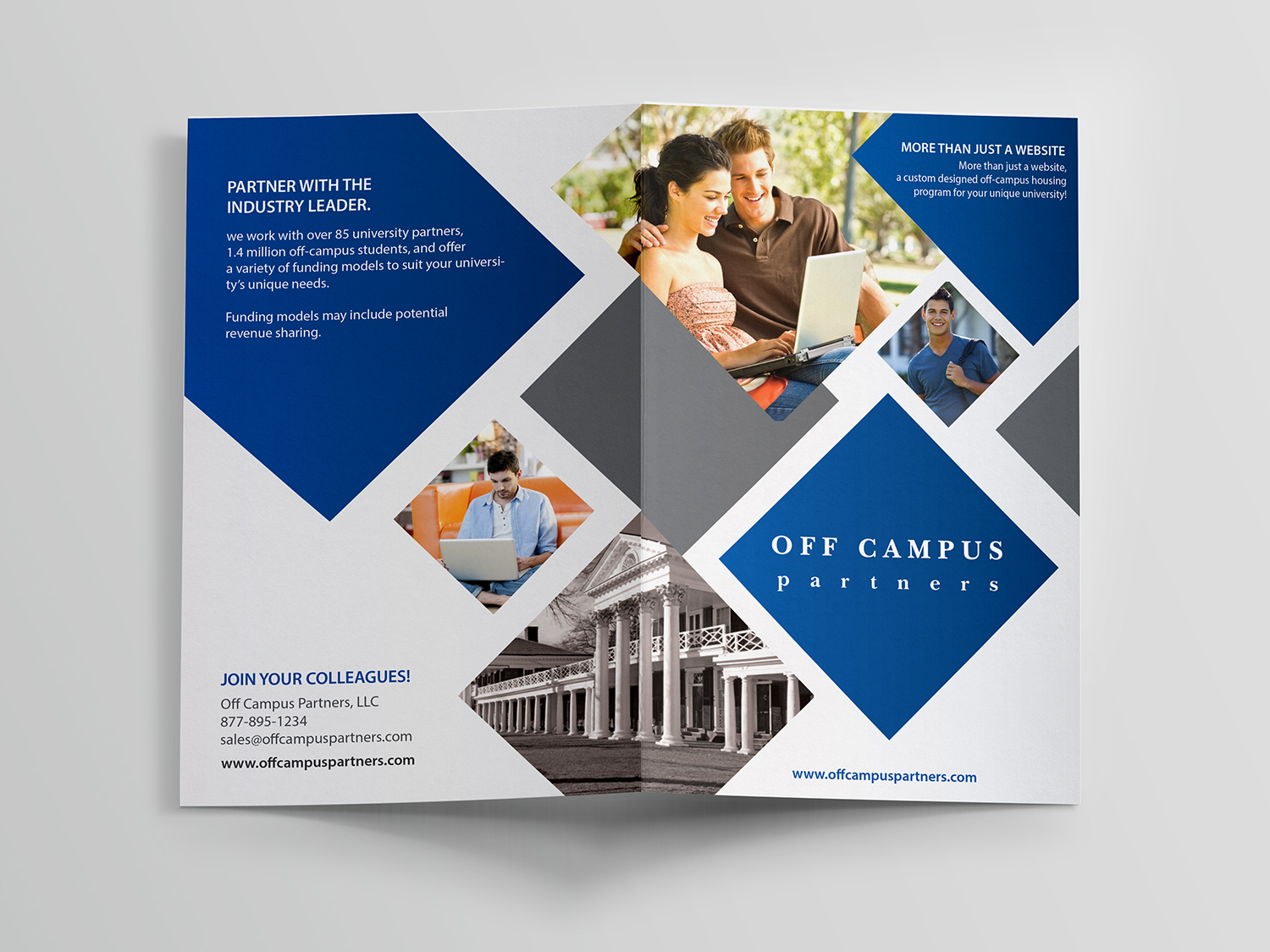 serious modern marketing flyer design for off campus partners by