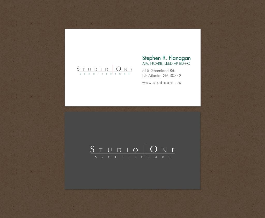 Elegant, Serious, Architect Business Card Design for Studio One ...
