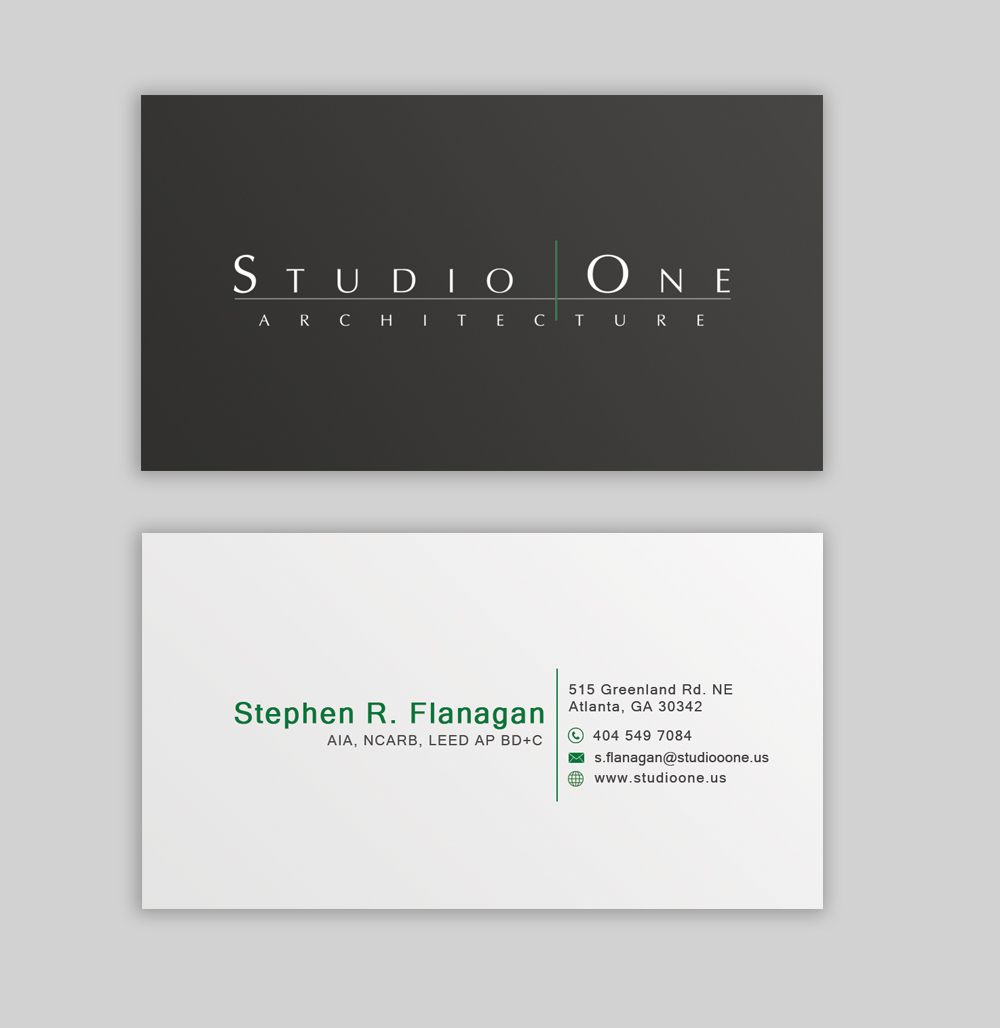 Elegant, Serious Business Card Design for Studio One Architecture ...