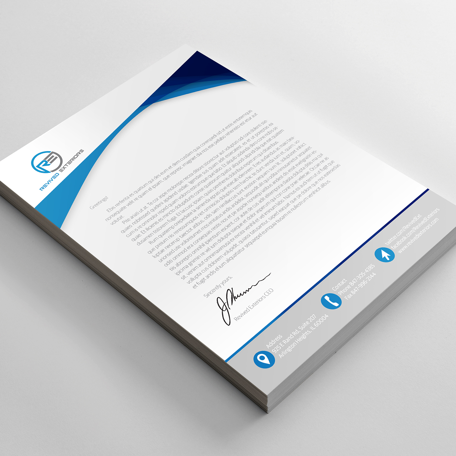 Bold Feminine Construction Company Letterhead Design For Revived Exteriors Inc In United States