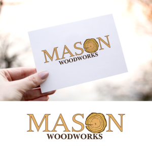 Upmarket Bold Woodworking Logo Design For Mason Woodworks By Moat