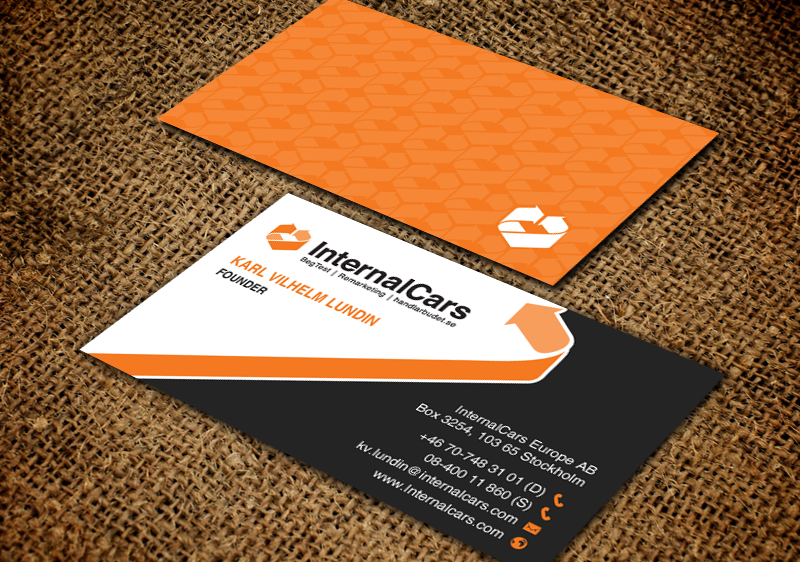 Professional masculine automotive business card design for business card design by chandrayaaneative for internalcars europe ab design 13035800 reheart Choice Image