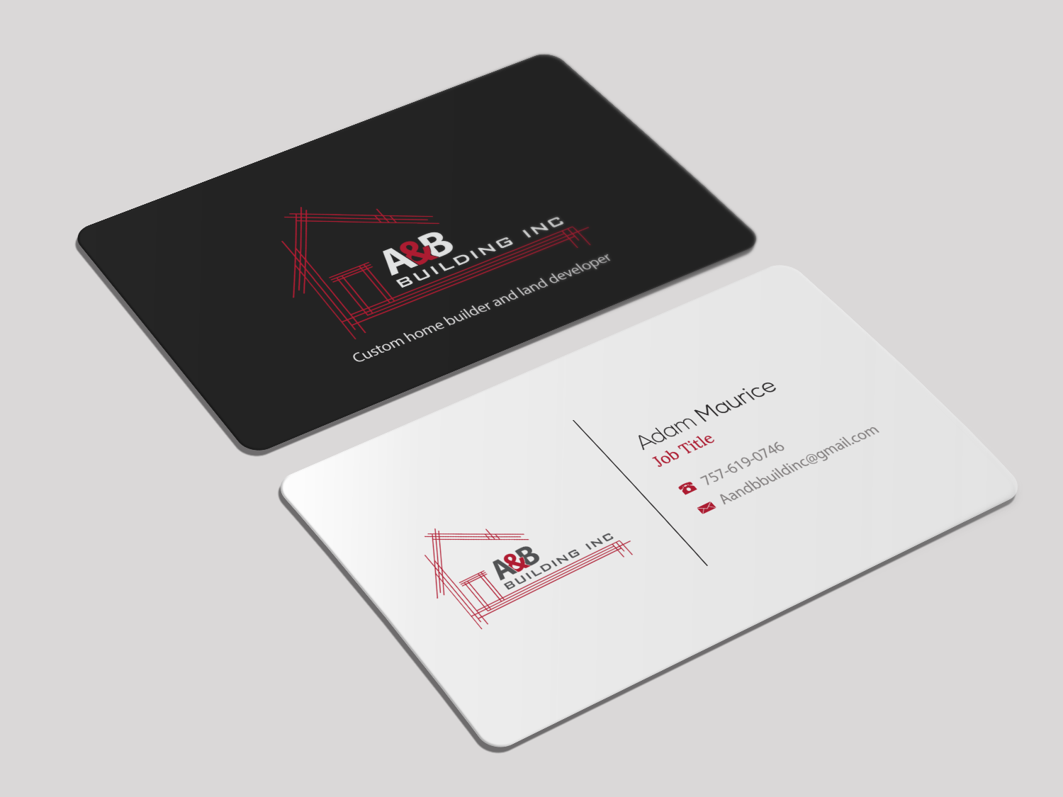 elegant playful business card design for a and b building inc by
