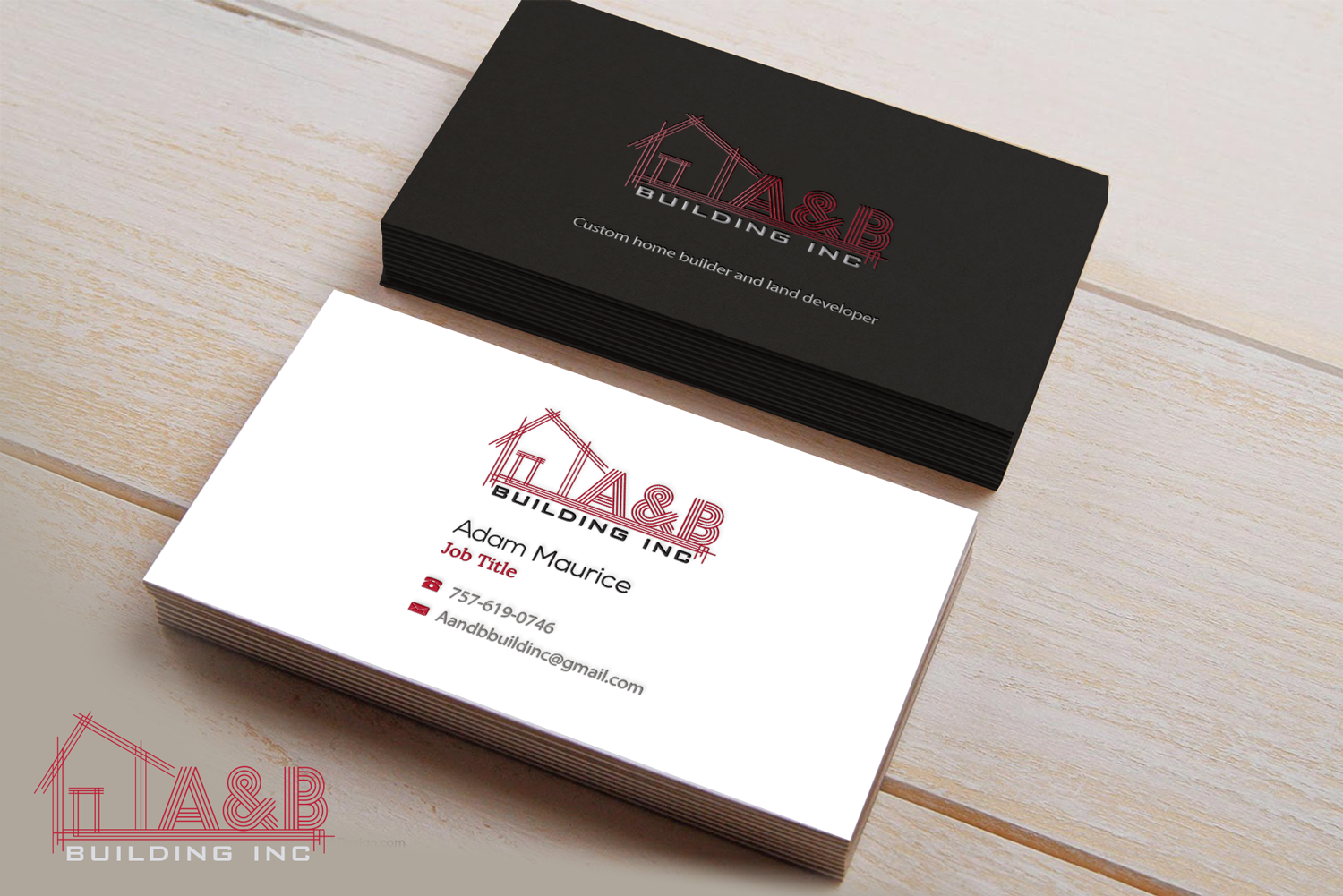 Elegant, Playful, Home Builder Business Card Design for A and B ...
