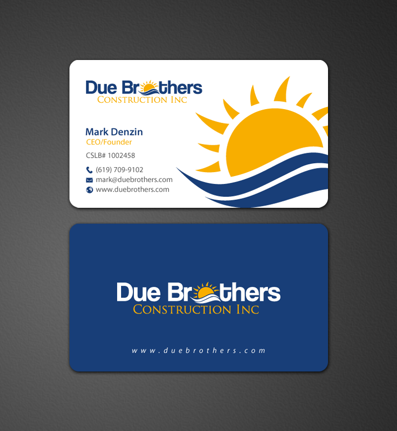 Upmarket serious business card design for due brothers business card design by chandrayaaneative for due brothers construction business cards design reheart Gallery
