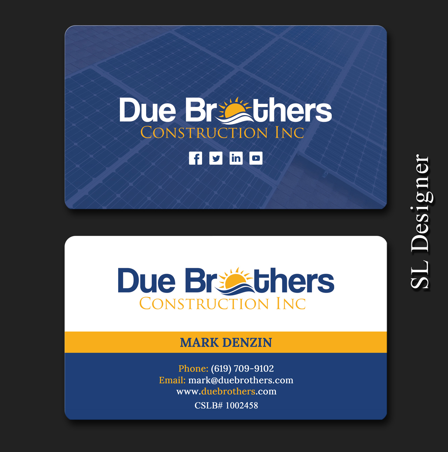 Upmarket serious solar energy business card design for due business card design by sl designer for due brothers construction design 13021222 colourmoves