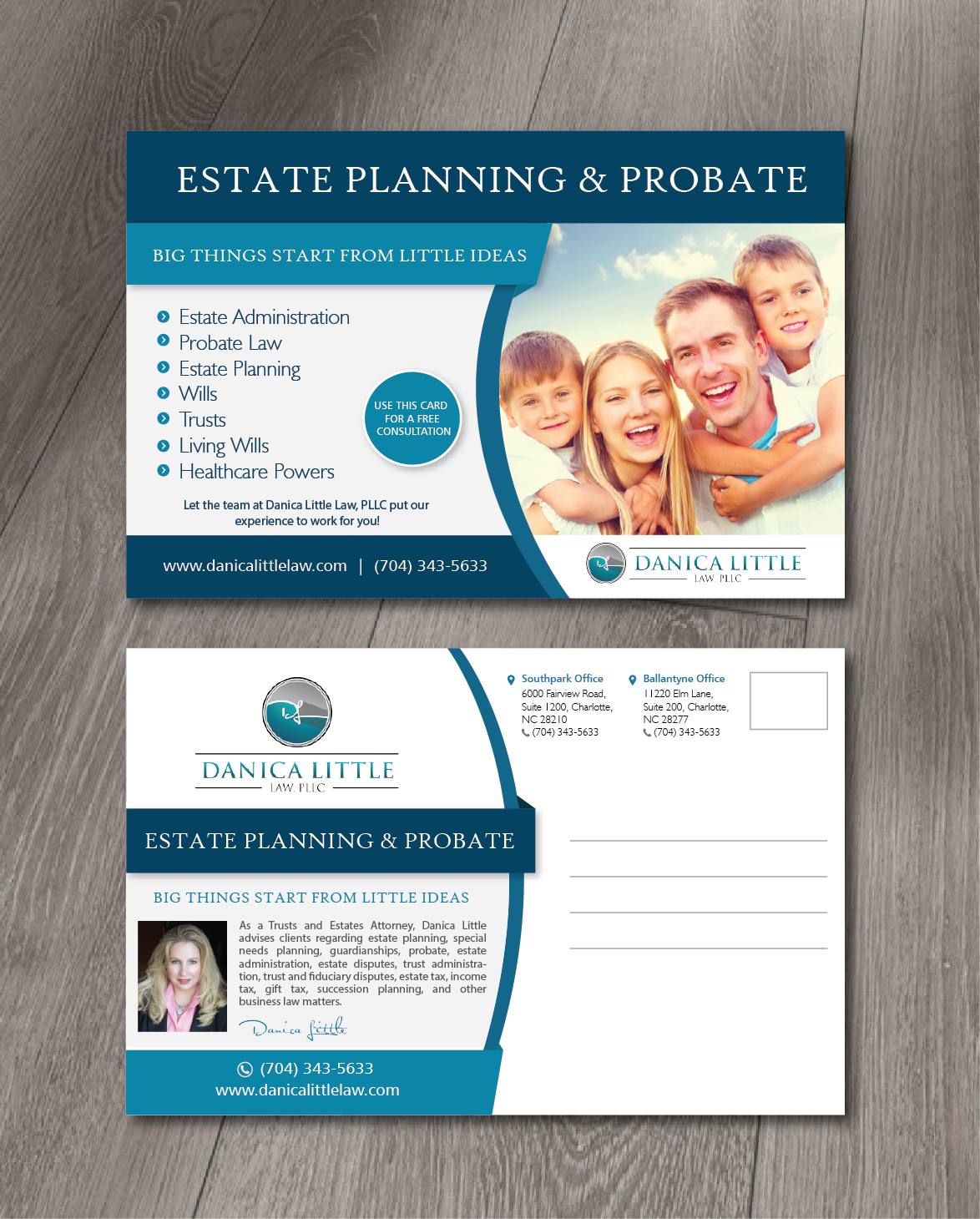 Serious, Professional, Law Firm Postcard Design for Danica Little ...