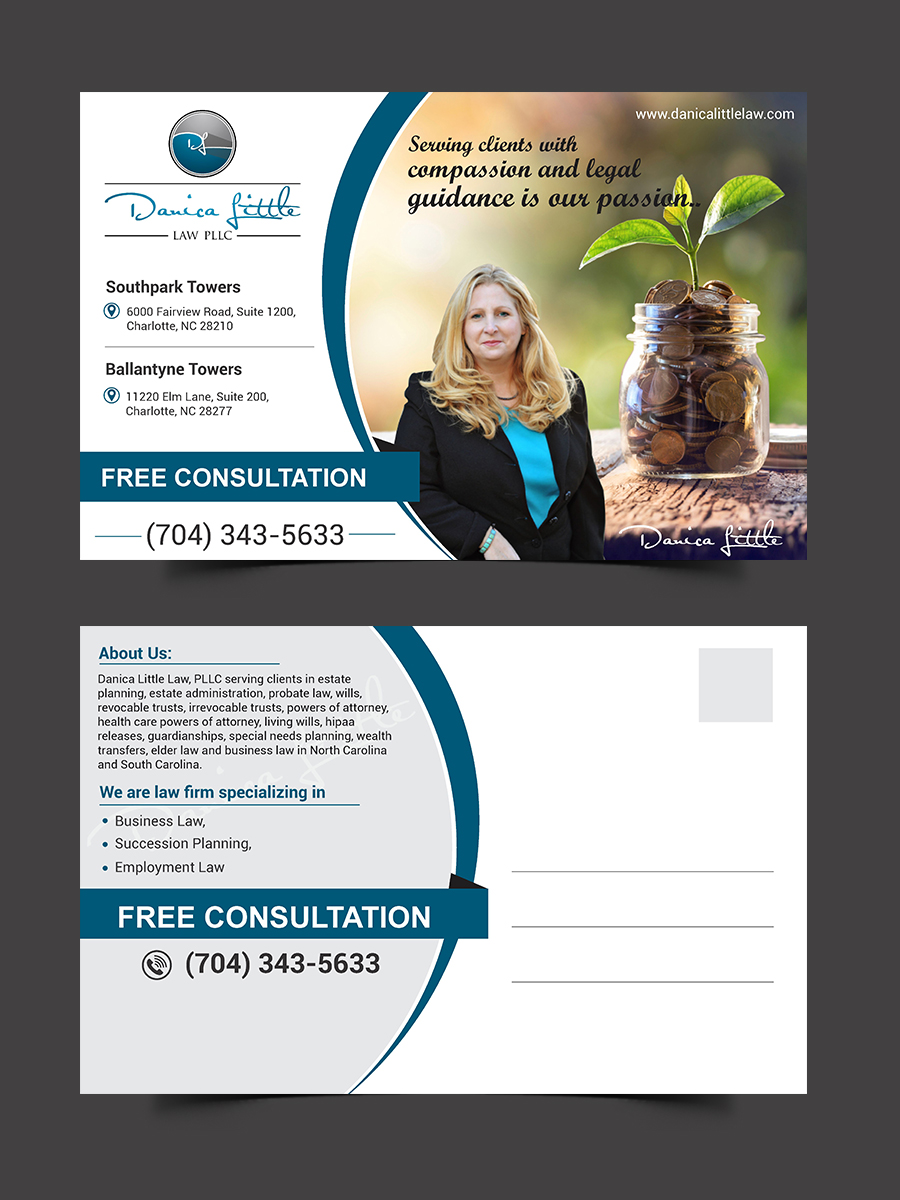 Bold, Serious, Business Postcard Design for Danica Little Law, PLLC ...