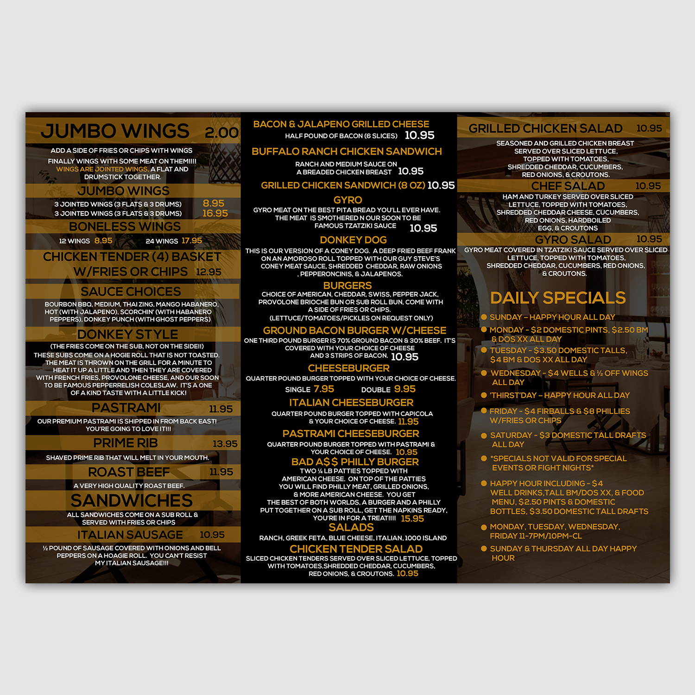 playful modern sports bar menu design for a company by mediaproductionart design 13162946 designcrowd