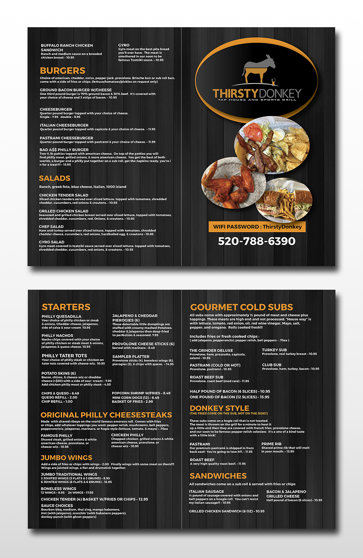 playful, modern, sports bar menu design for a company by cervus