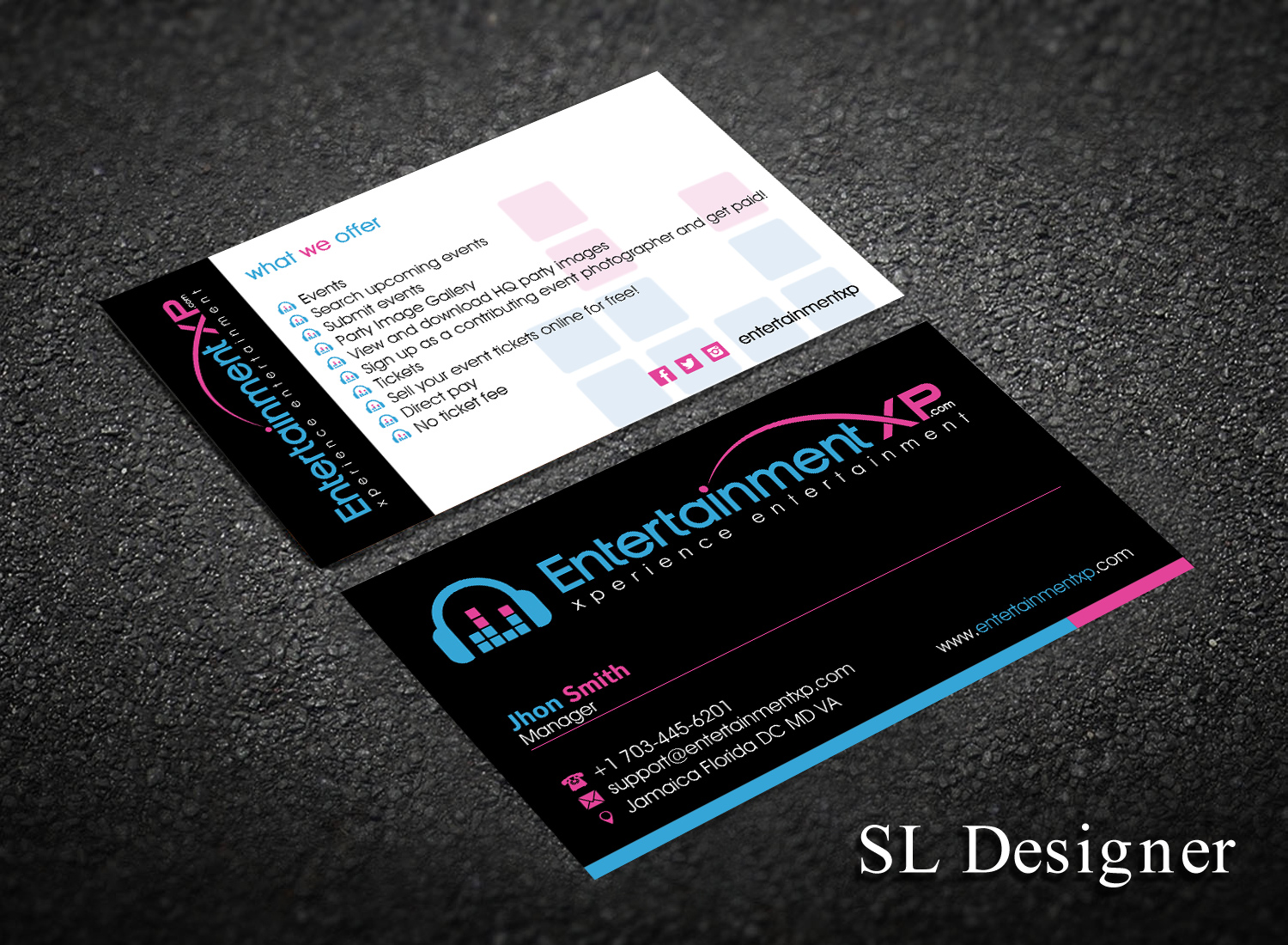 Masculine serious business business card design for business card design by sl designer for entertainmentxp design 13152922 reheart Image collections