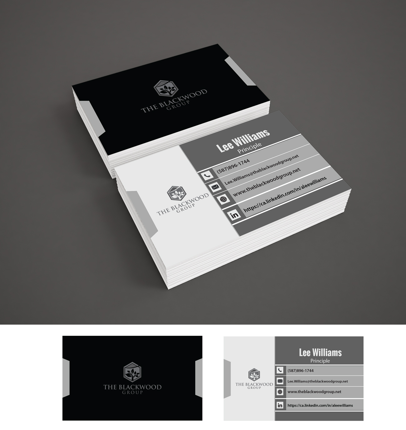 serious professional business card design for the blackwood group