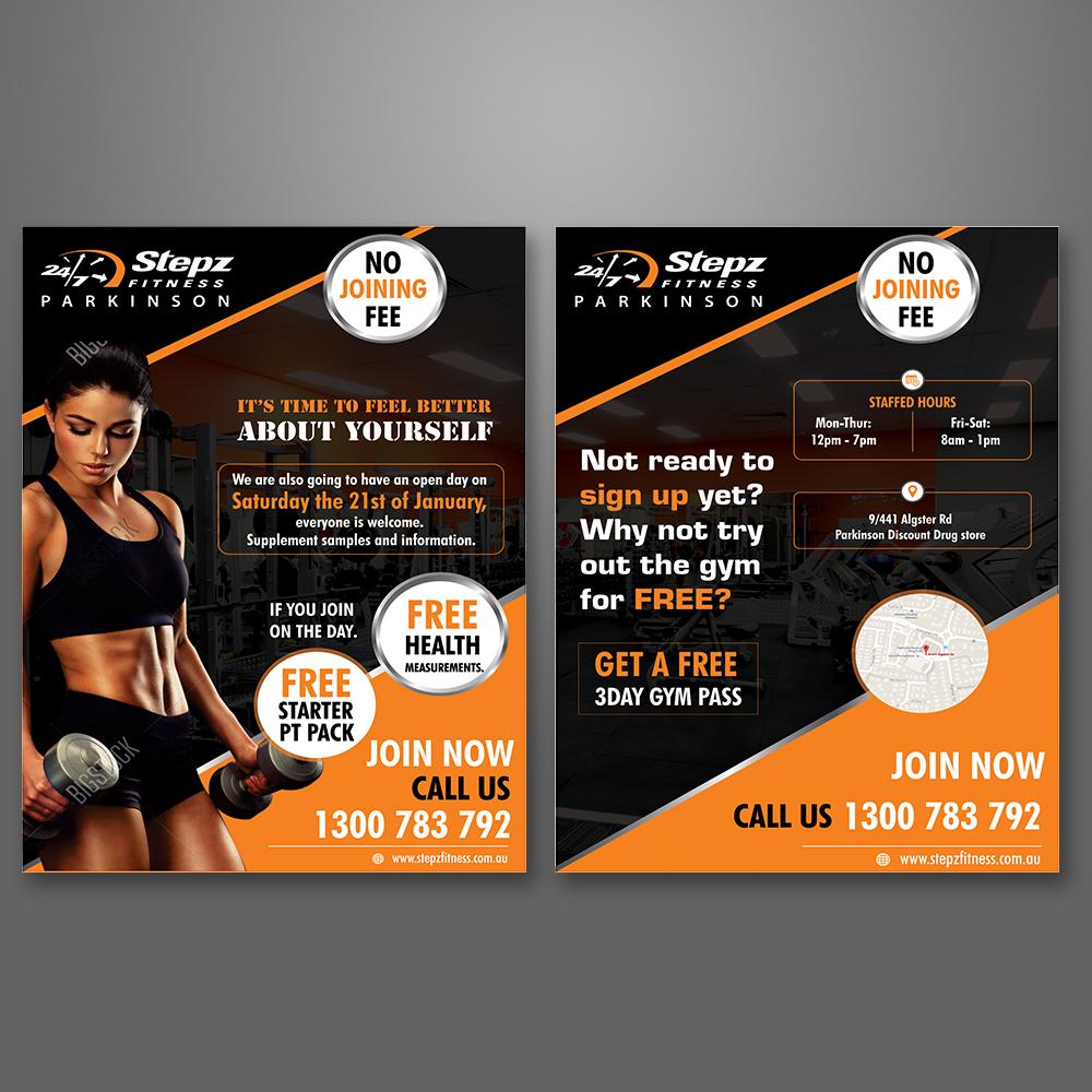 elegant playful gym flyer design for stepz fitness parkinson by