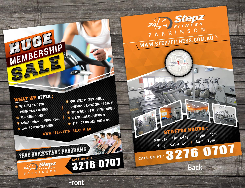 elegant playful gym flyer design for stepz fitness parkinson by sd