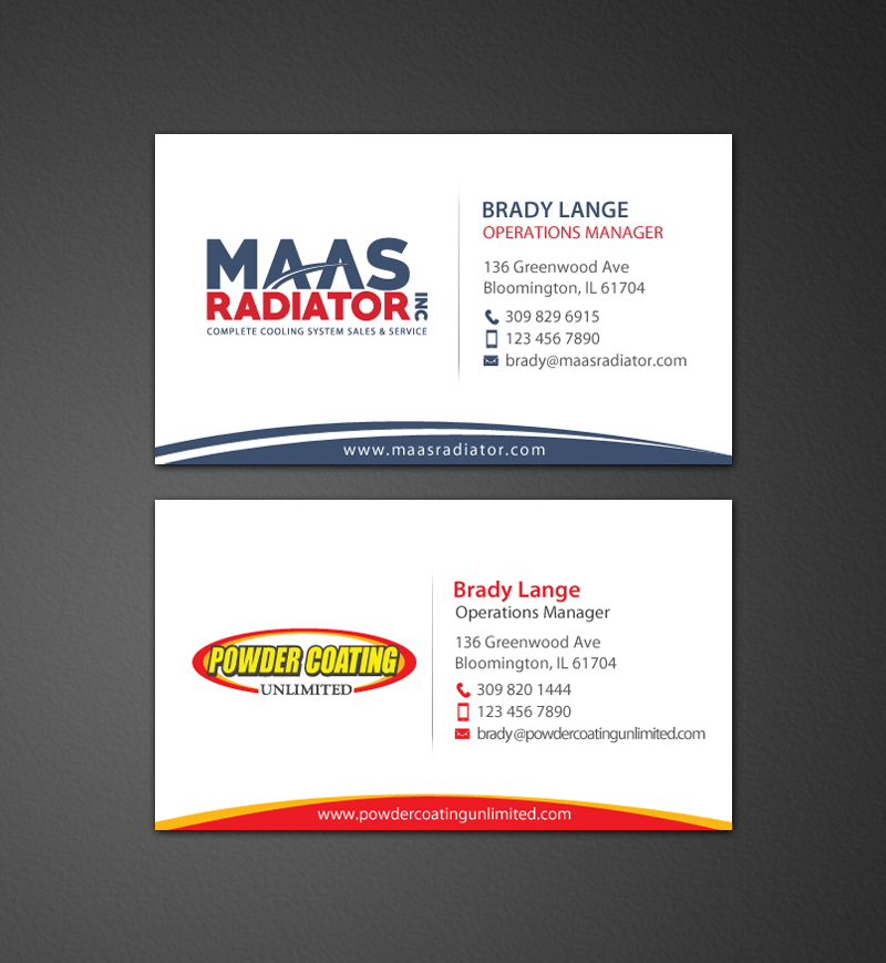 Professional modern industrial business card design for maas business card design by chandrayaaneative for maas radiator inc design 13206813 reheart Image collections
