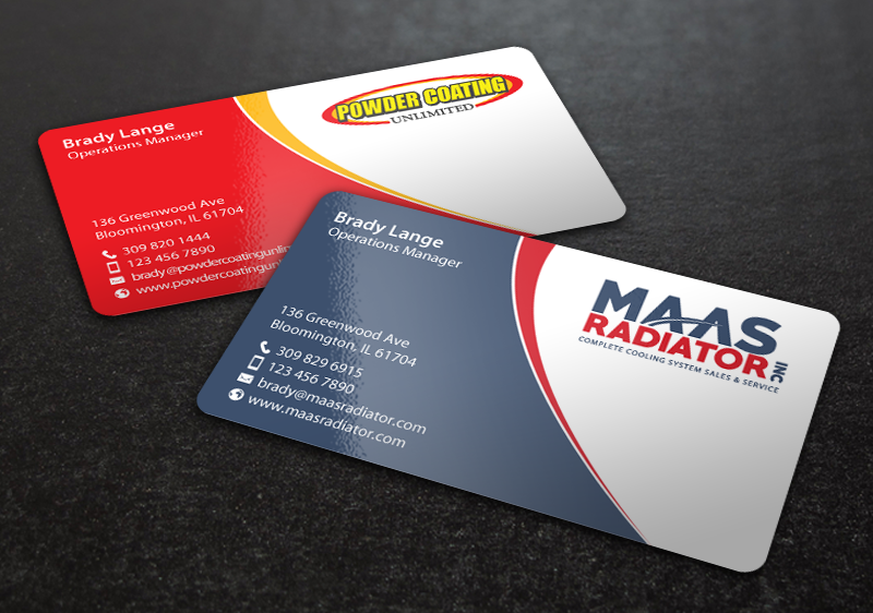 Professional modern industrial business card design for maas business card design by chandrayaaneative for maas radiator inc design 13209330 reheart Image collections