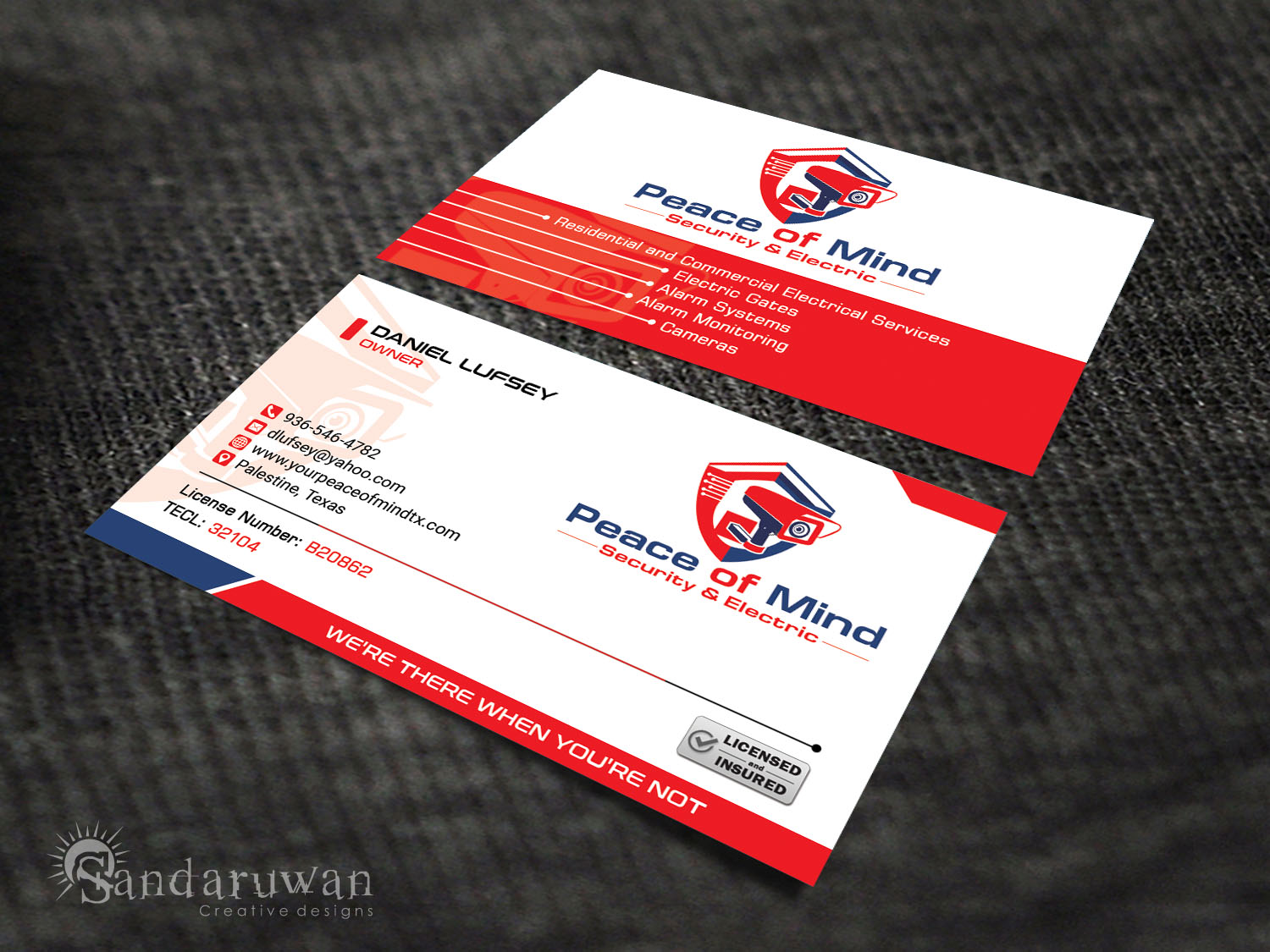 Bold serious business card design for stephanie lufsey by business card design by sandaruwan for peace of mind security amp electric needs a business magicingreecefo Images