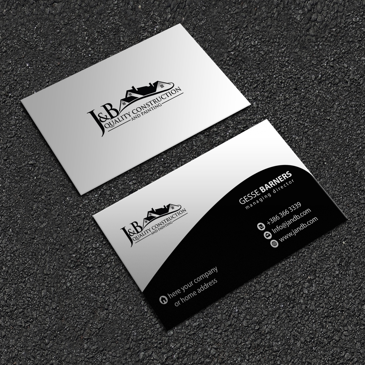 Professional masculine construction company business card design business card design by ibrahimhossainkhan24 for j b quality construction llc design 13332507 reheart Gallery