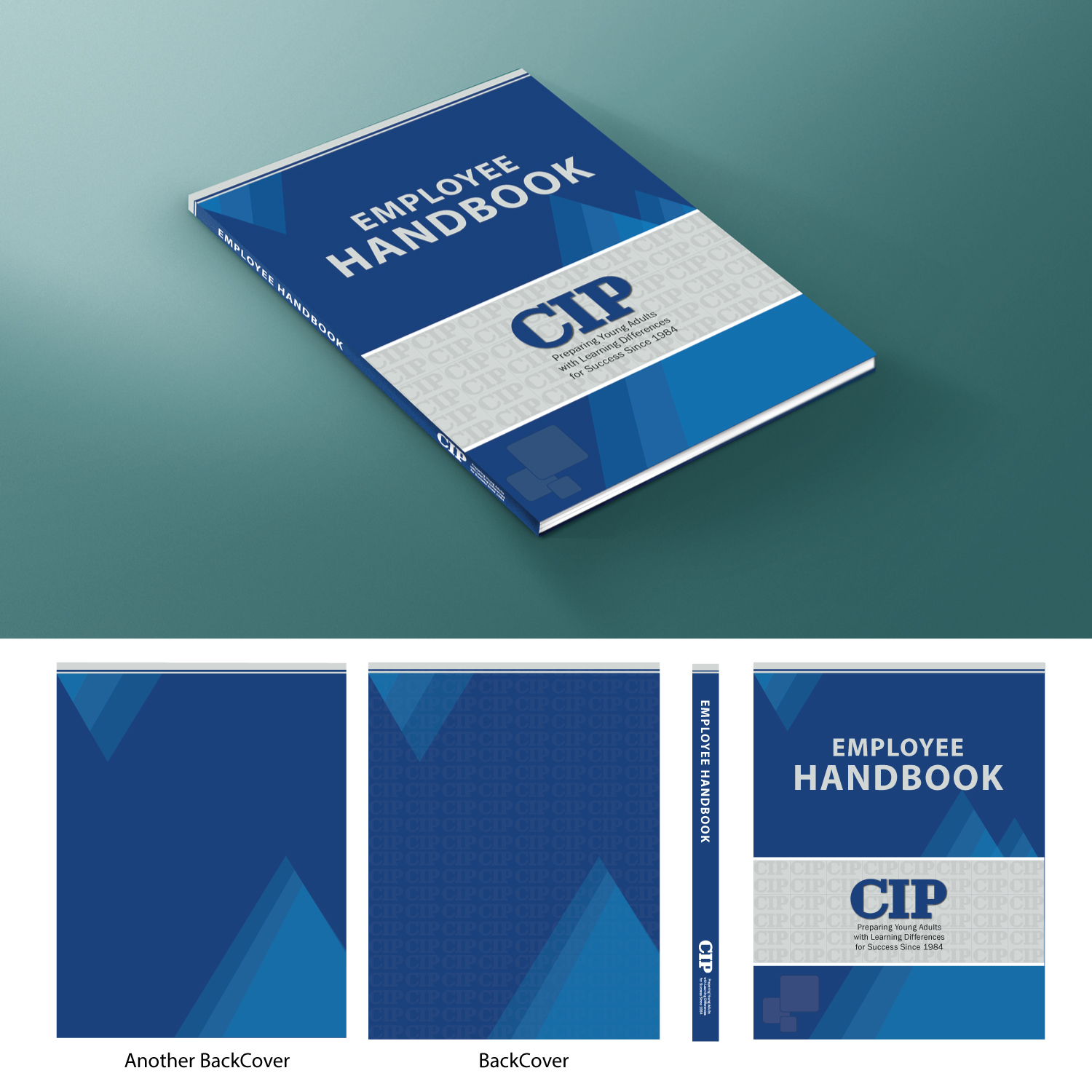 Modern bold education book cover design for college for Employee handbook cover design template