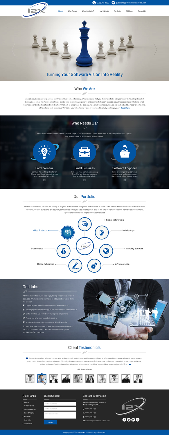 Professional, Upmarket, Software Web Design for I2X and/or