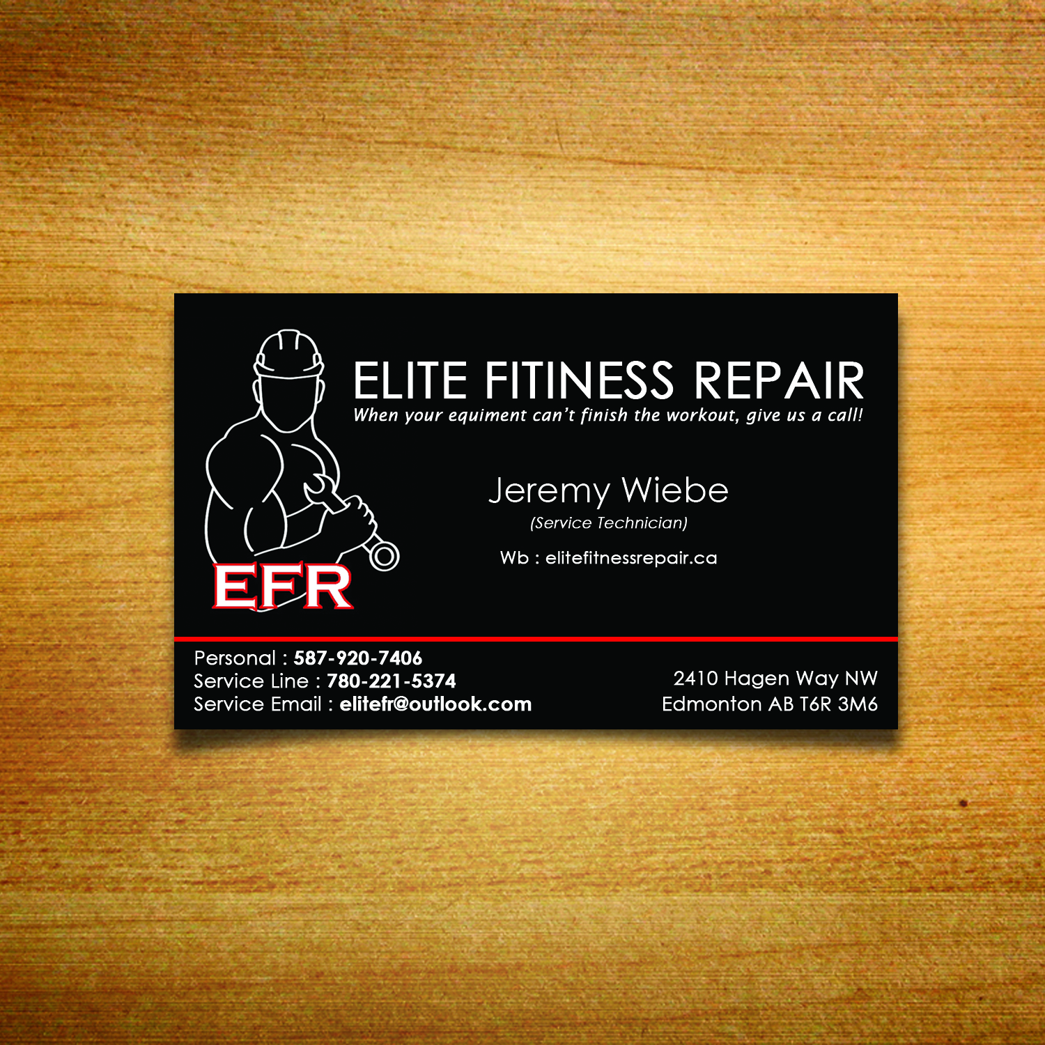 Bold professional business card design for elite fitness repair by bold professional business card design for company in canada design 13403530 reheart Images