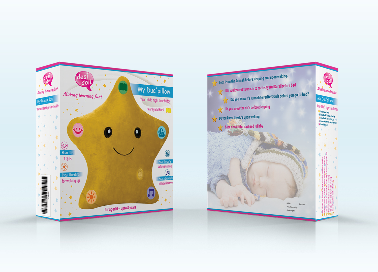 playful modern toy store packaging design for the desi doll