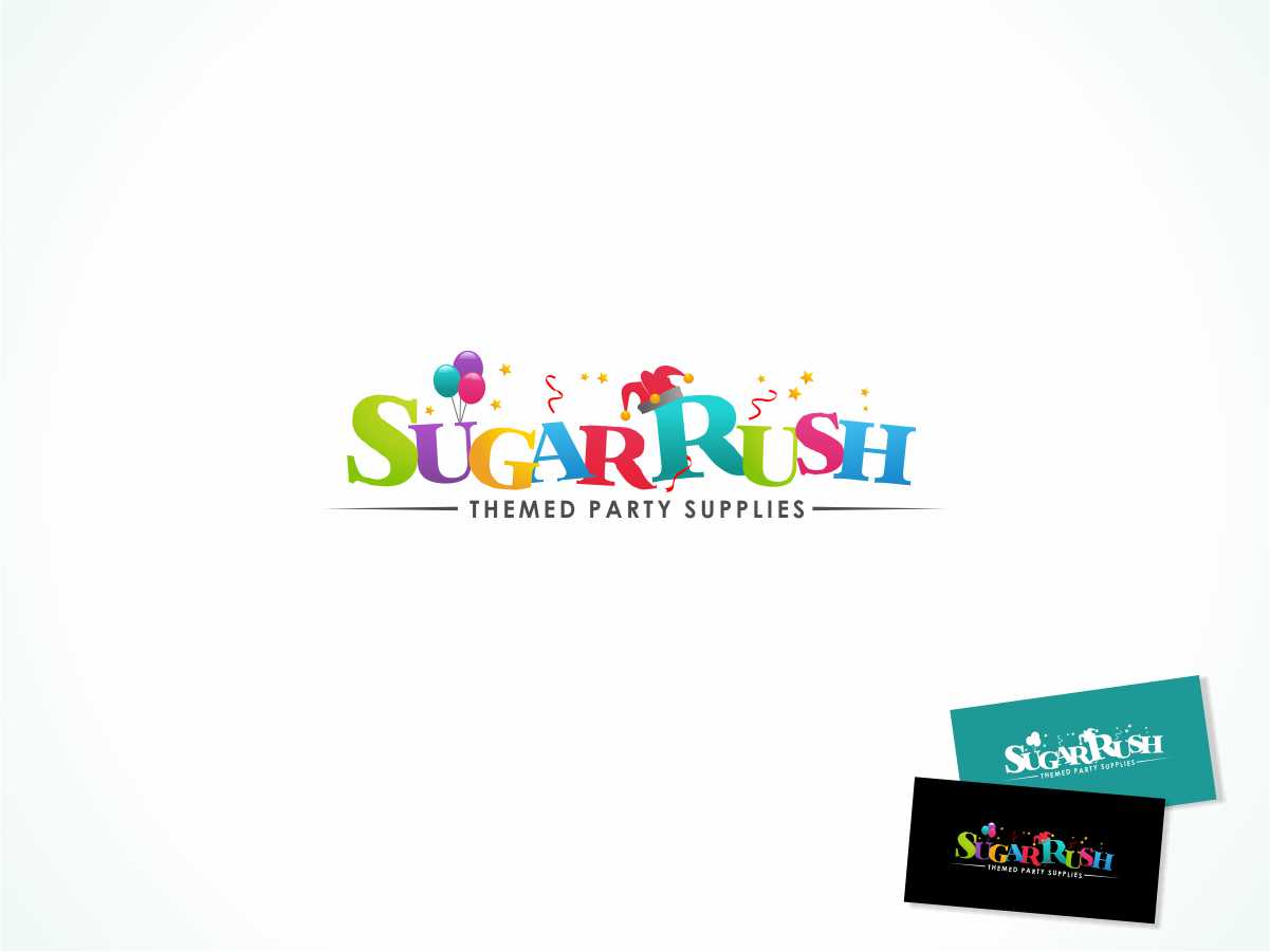 elegant playful business logo design for sugar rush themed party