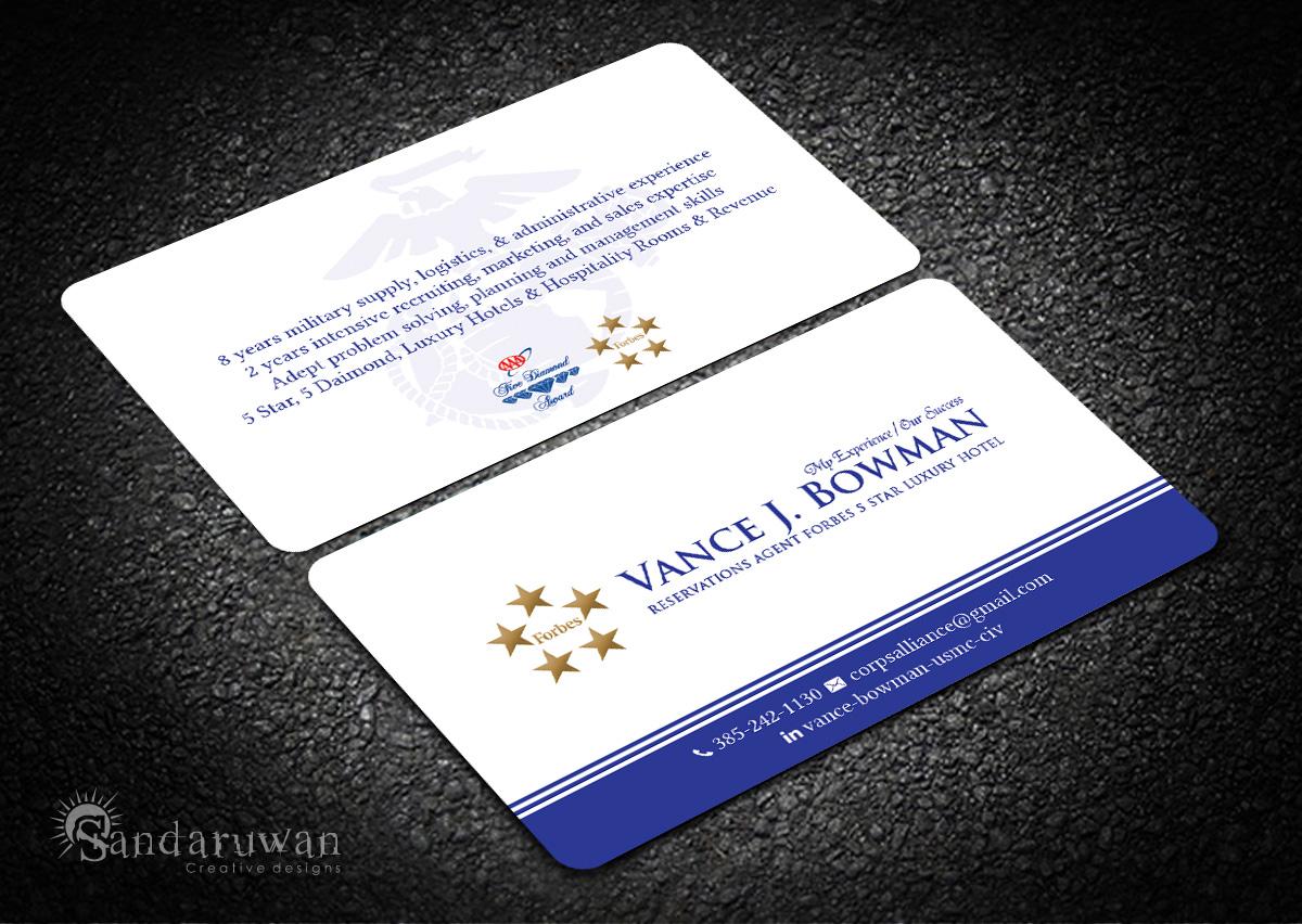 Elegant playful business card design for vance bowman by business card design by sandaruwan for business card for luxury hospitality industry career seeker design magicingreecefo Gallery
