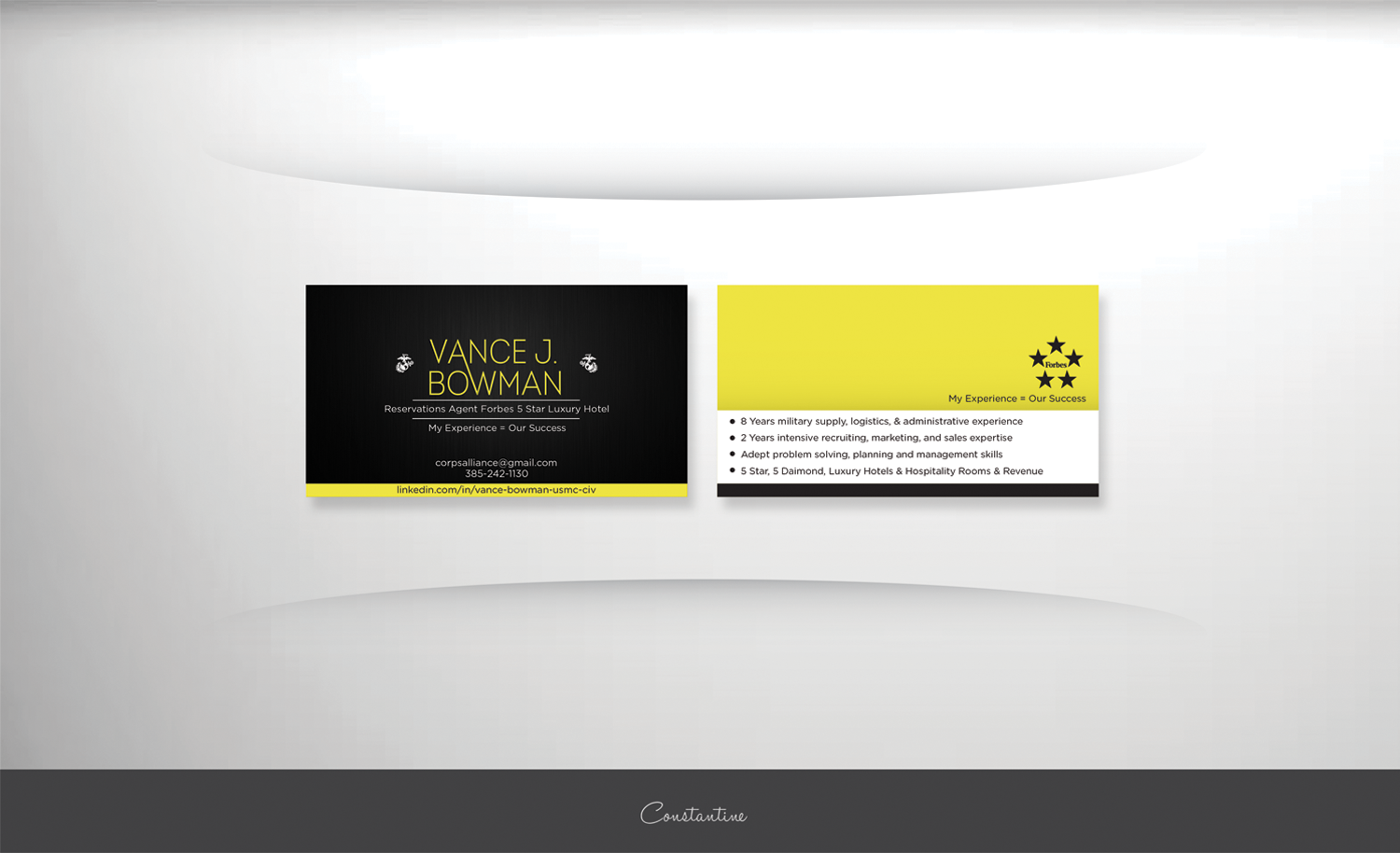 0025924f5 Elegant, Playful, Hospitality Business Card Design for a Company by ...