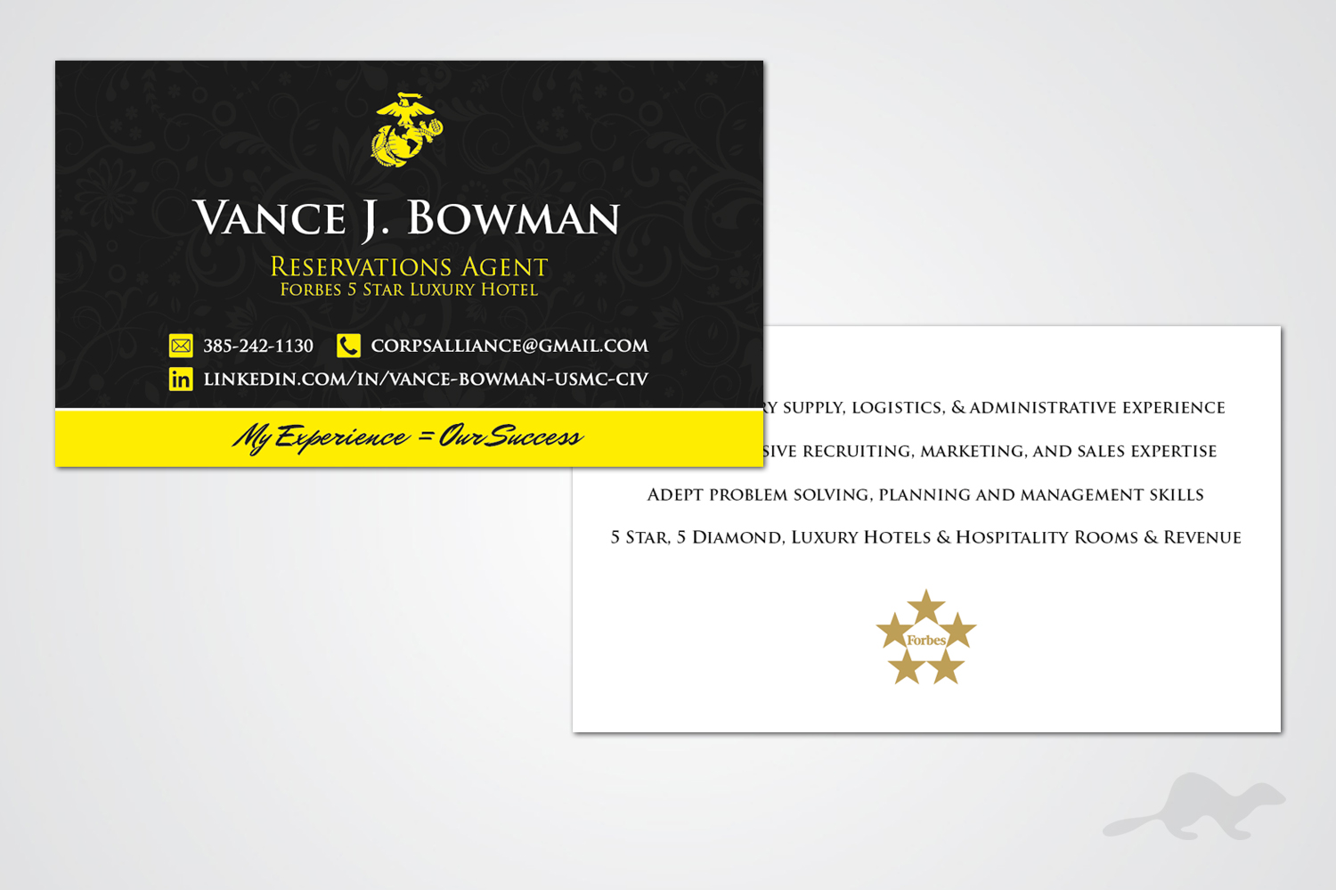 Elegant, Playful, Hospitality Business Card Design for a Company by ...