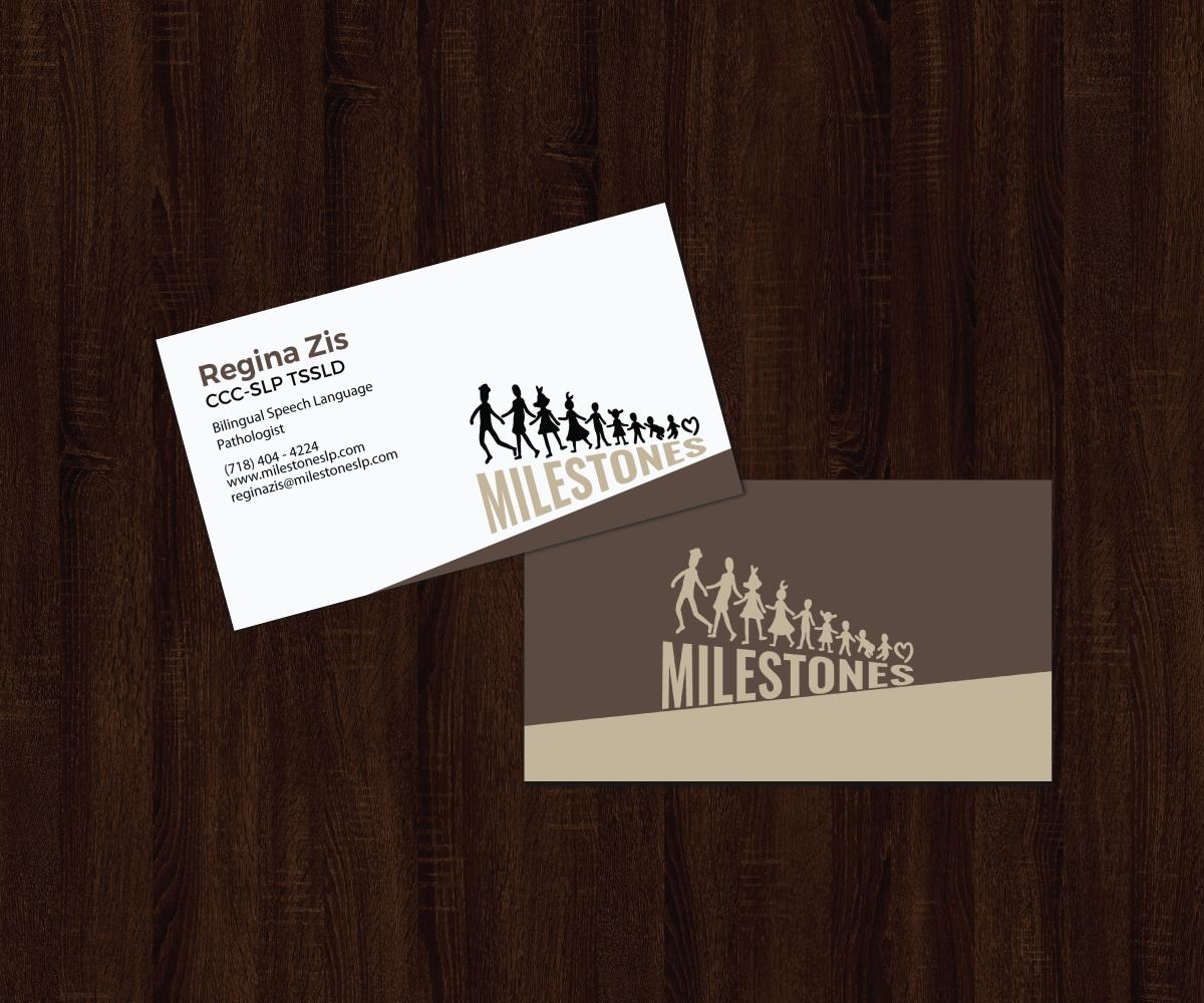 Elegant playful business business card design for milestones by business card design by jk18 for milestones design 13359045 reheart Choice Image