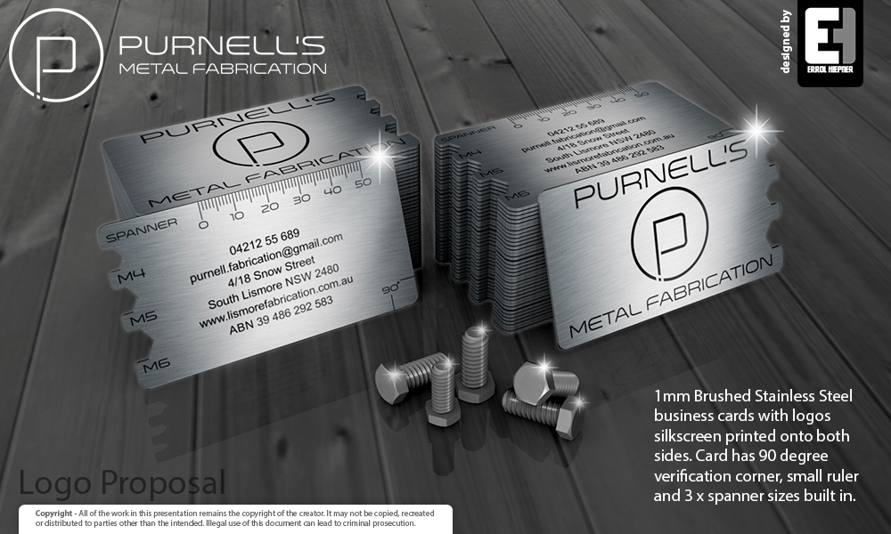 Elegant playful business business card design for purnells metal business card design by ehiepner for this project design 13460727 colourmoves