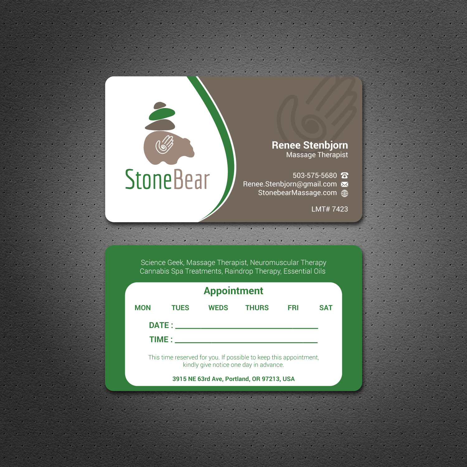 Playful, Modern, Massage Therapy Business Card Design for a Company ...