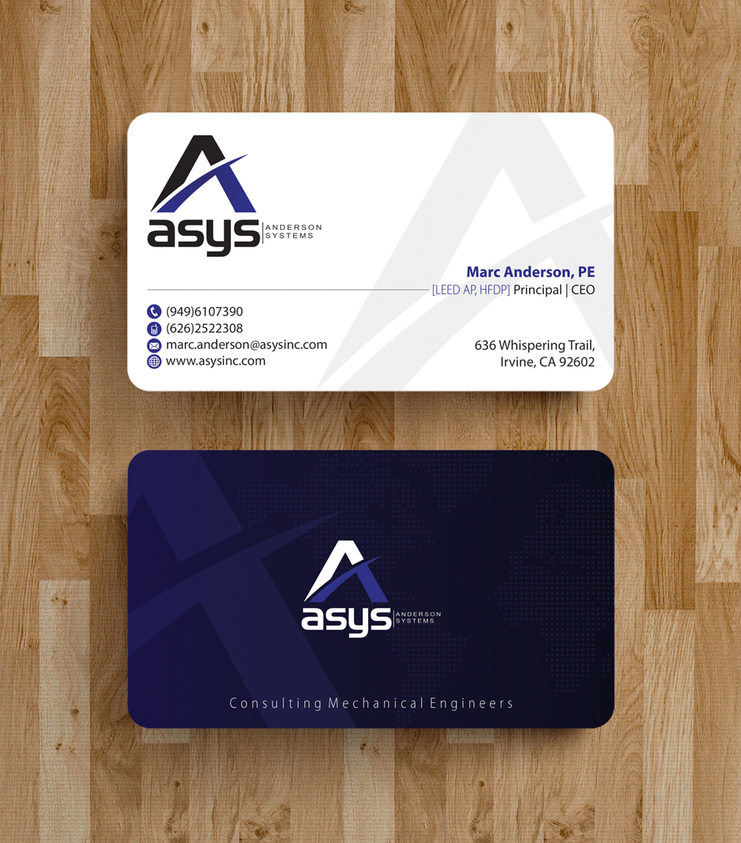 Modern professional business card design for asys inc by business card design by alpesh9520 for innovative engineering consulting group needs business card update design reheart Gallery