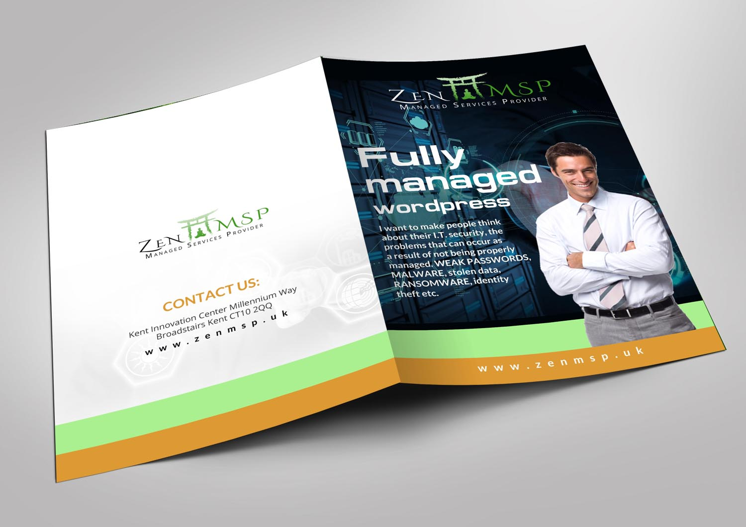 bold modern business flyer design for zen managed services by