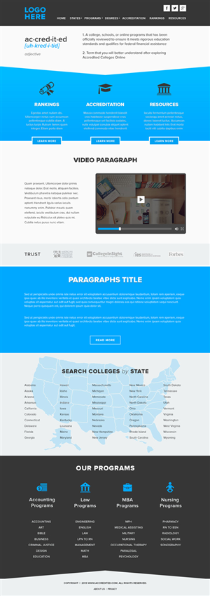 Web Design by Alex D - Need a clean & modern homepage for an education...