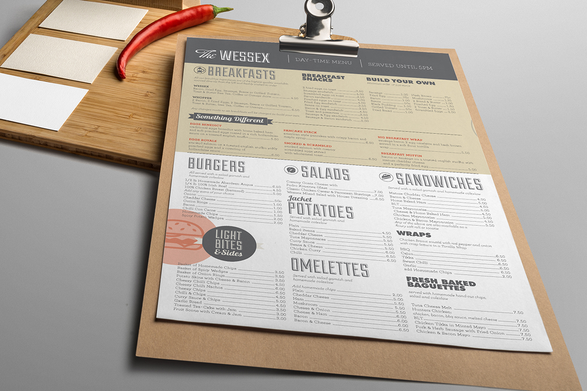 playful, modern menu design for the wessex bar by image solutions