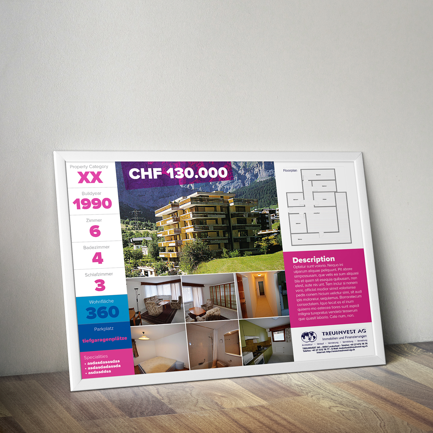 serious professional real estate brochure design for wolkenfrei ch