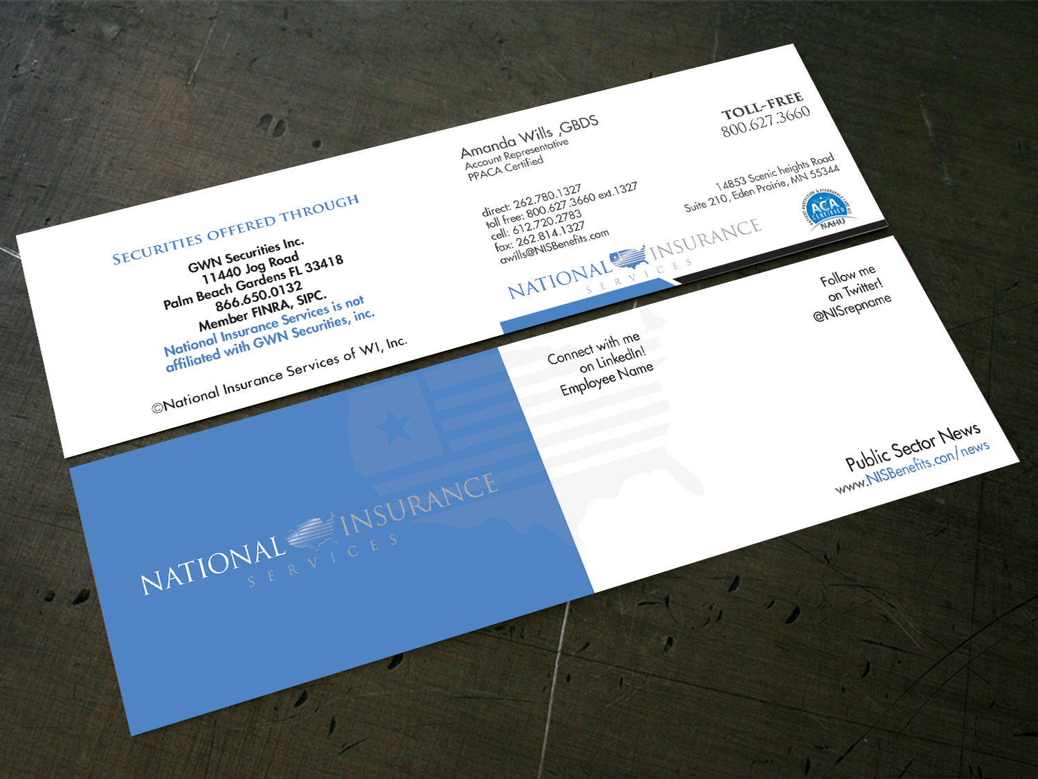Serious, Professional Business Card Design for National Insurance ...