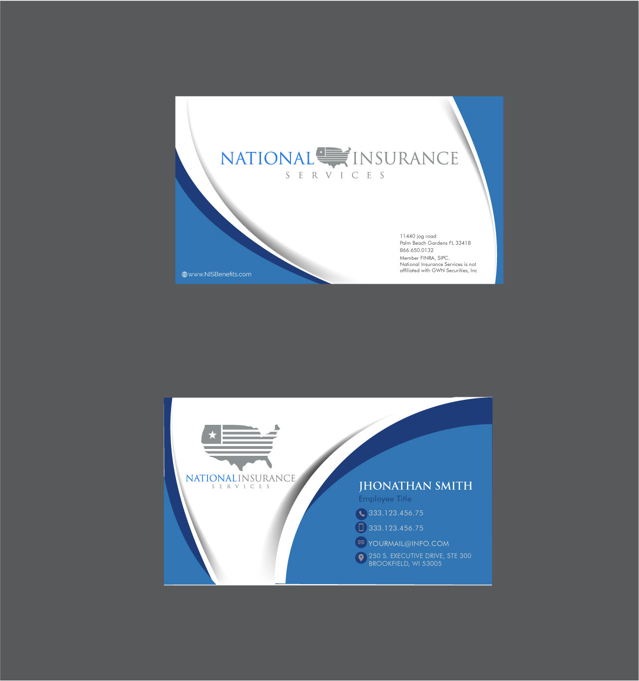 Serious professional business card design for national insurance business card design by designs craft for business cards both co branded and single magicingreecefo Image collections