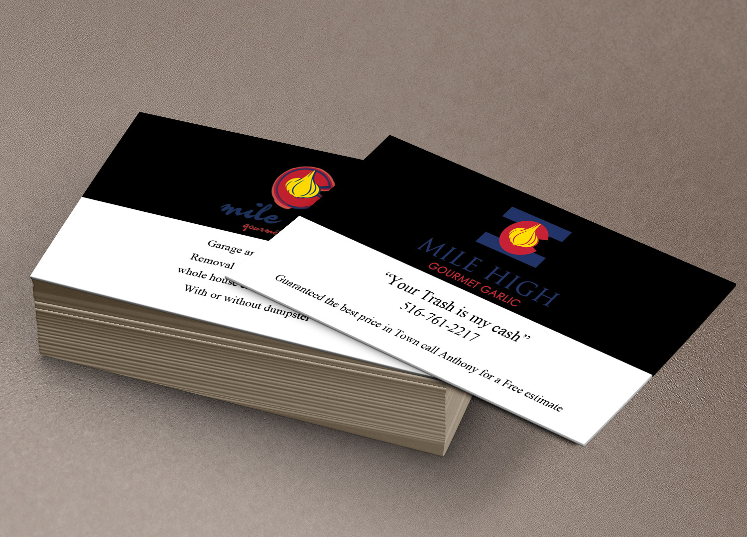 Playful personable agriculture business card design for mile high business card design by pawana designs for mile high gourmet garlicllc design reheart Choice Image