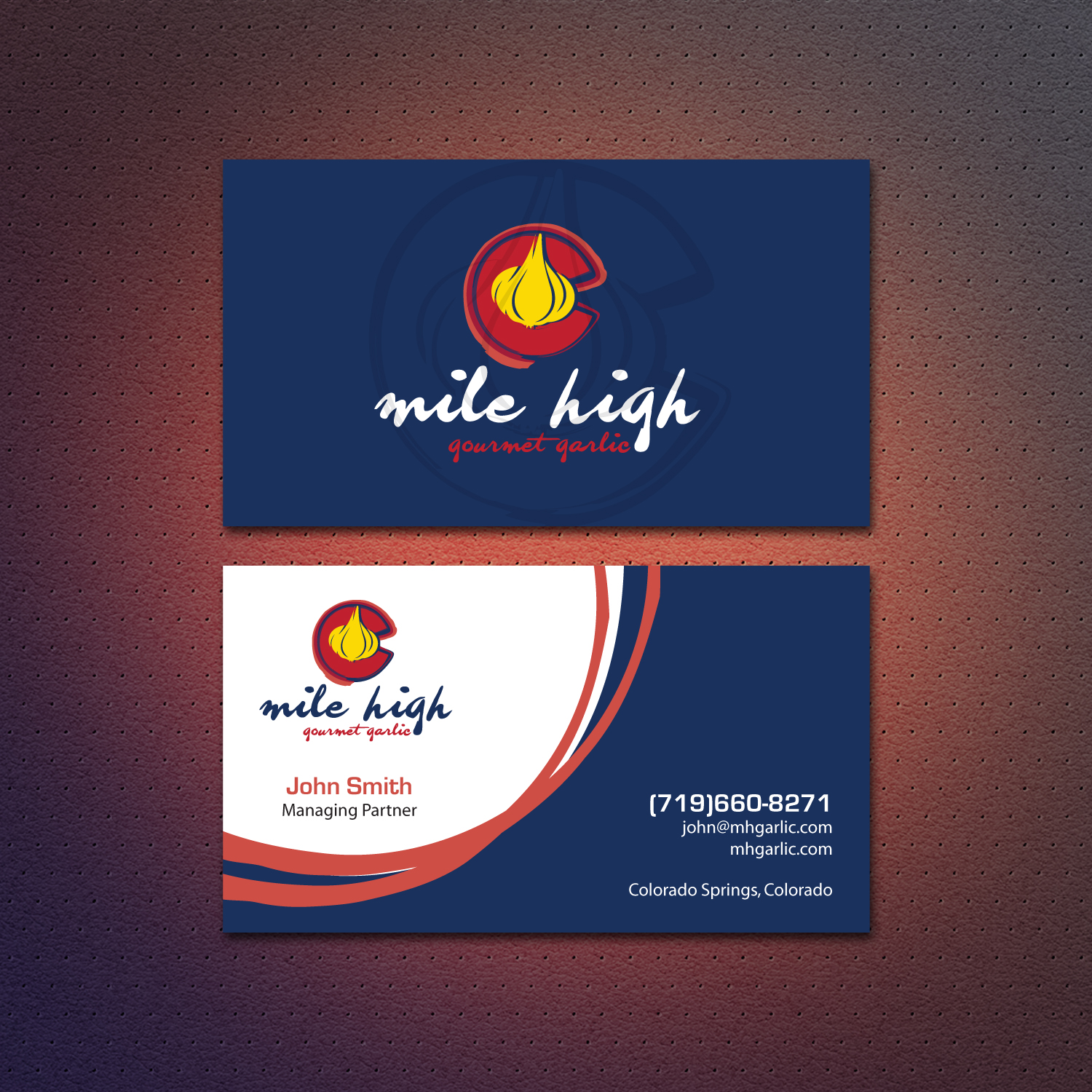 playful personable business card design for mile high gourmet