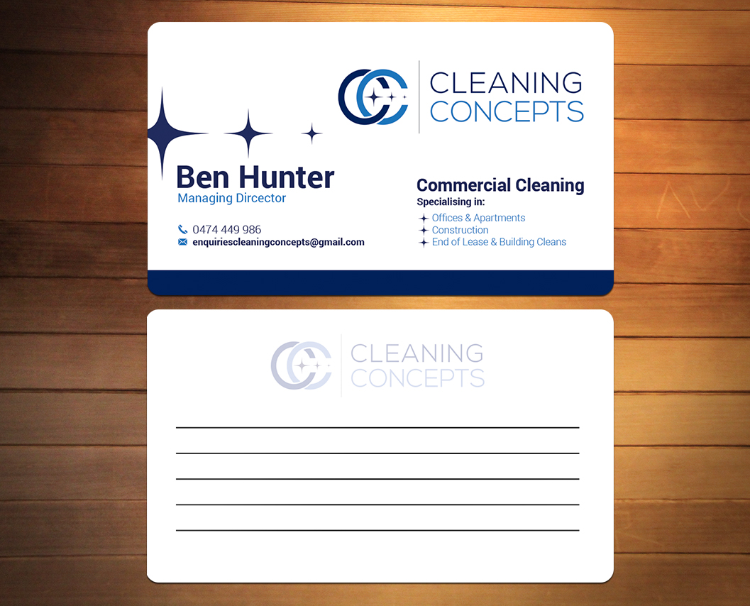 Modern professional business card design for cleaning concepts pty business card design by creativmindsja for commercial cleaning business needs proffesional clean smart business colourmoves Gallery
