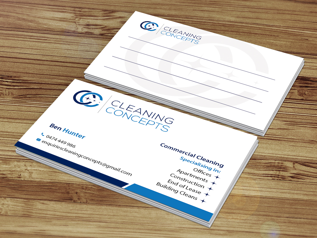 135 modern business card designs office cleaning business card business card design by creations box 2015 for cleaning concepts pty ltd design colourmoves Gallery